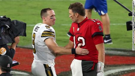 Two of the greatest quarterbacks in NFL history Brees and Brady  share a few words after the regular season game between the Saints and the Buccaneers.