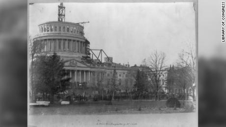 People gather at the US Capitol on March 4, 1861, the day of Abraham Lincoln's first inauguration.