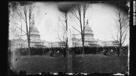 People gather at the US Capitol on March 4, 1877, for Rutherford B. Hayes' inhuldiging.