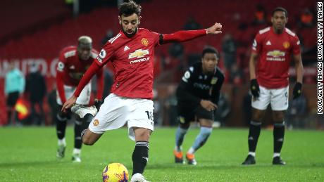 Bruno Fernandes converts a penalty for Manchester United this season.