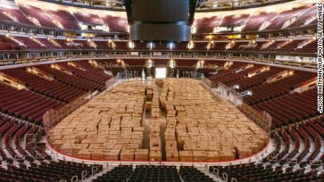 Non-perishable food items await to be delivered in Chicago's United Center in April.