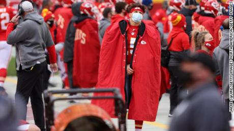 Mahomes looks on from the sidelines during the second quarter of the Chiefs' win.