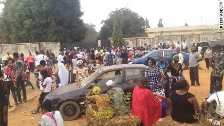 Crowds gather at a National Identity Management Commission office in Ilorin to register for their national identification number on January 18