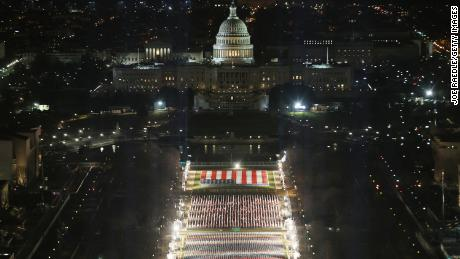 Approximately 191,500 US flags cover part of the National Mall and represent the American people who are unable to travel to Washington, DC for the inauguration.