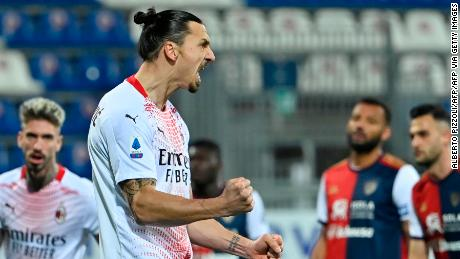 Zlatan Ibrahimovic celebrates after scoring the opening goal from the penalty spot.