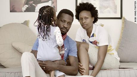 Bobi Wine and his wife, Barbara Itungo Kyagulanyi, are seen at home in this photo Wine tweeted on Tuesday, January 19.