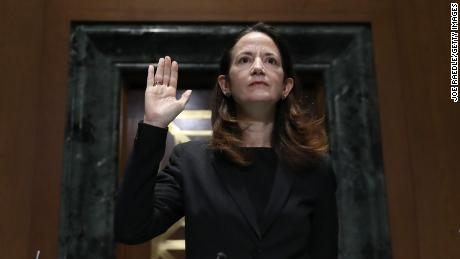 Avril Haines is sworn in at the start of her confirmation hearing before the Senate Intelligence Committee on Tuesday.