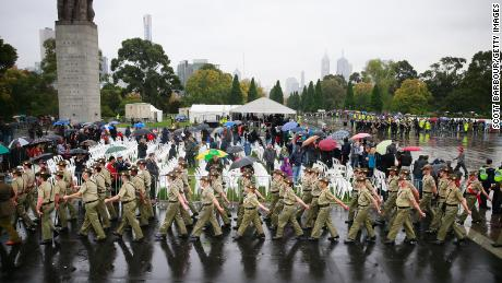 A military march on Anzac Day in 2015 in Melbourne, Australia, where RXG and Besim had planned a foiled attack.