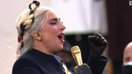 Lady Gaga performs the National Anthem during inauguration ceremonies on Wednesday, January 20, 2021.