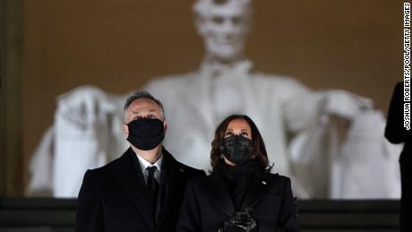 Vice President Kamala Harris and husband Doug Emhoff attend a televised ceremony at the Lincoln Memorial on January 20, 2021 in Washington.