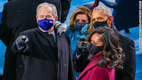 Former President George W. Bush, House Speaker Nancy Pelosi, former President Barack Obama and his wife, Michelle, attend inauguration.