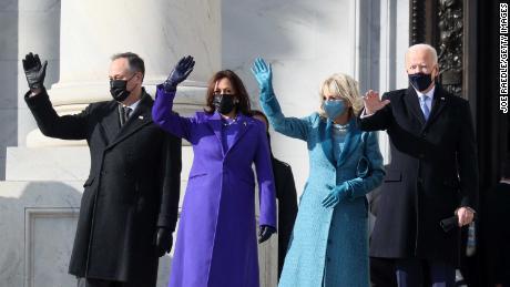 The Bidens, along with Kamala Harris and her husband, Doug Emhoff, outside the Capitol Wednesday.