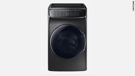 Samsung smart washer in black stainless steel