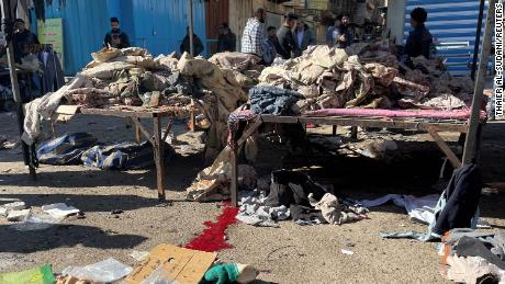 A view shows the site of the suicide attack in Baghdad on January 21, 2021.