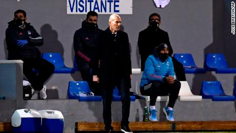 Real Madrid manager Zinedine Zidane watches his side slip to defeat.