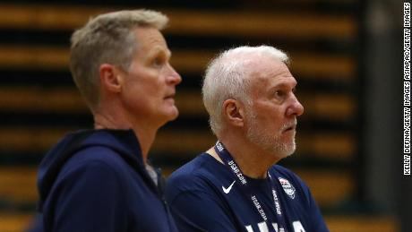 Popovich (right) and Kerr look on during a Team USA training session in August 2019.