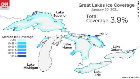 Great Lakes ice coverage from January 2021