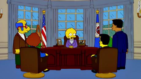 "Lisa Simpson as president in the 2000 episodio ""Bart to the Future"""