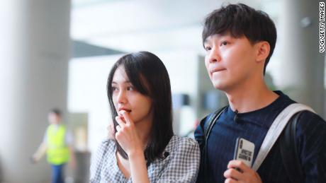 Actress Zheng Shuang and her boyfriend Zhang Heng in Shanghai, 中国, 在六月 19, 2019.
