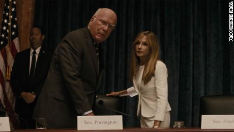"Leahy, shown here with actor Holly Hunter, aptly portrayed a senator in ""Batman v. Superman: Dawn of Justice."""