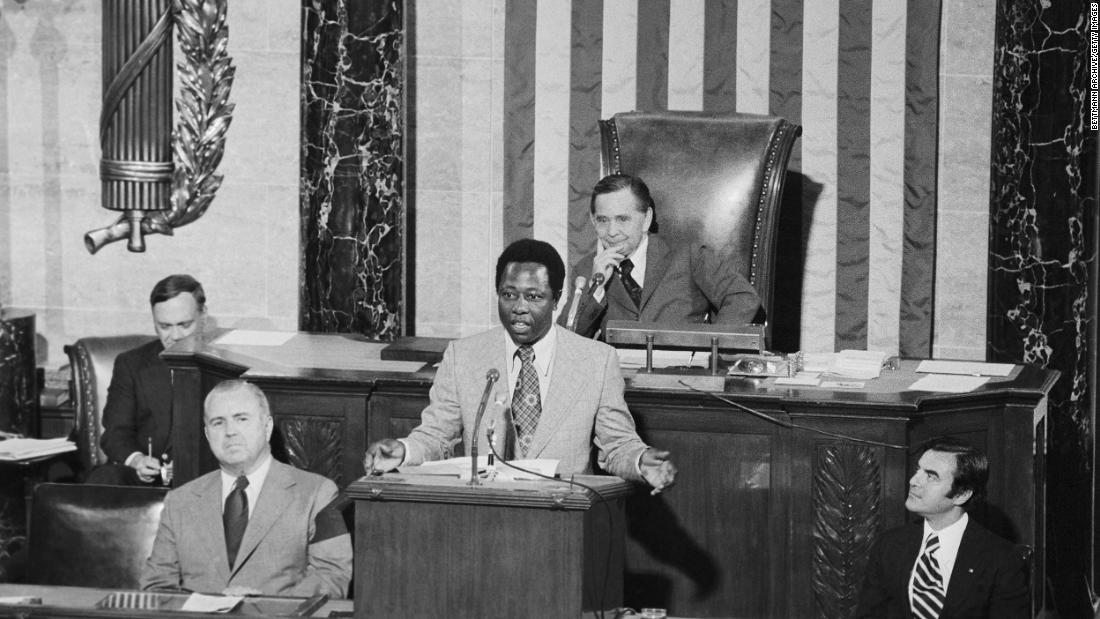 Aaron takes part in Flag Day ceremonies on the floor of the US House of Representatives in 1974.