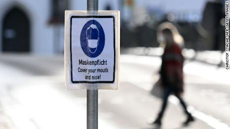 A sign mandating mask-wearing in the city of Fuerstenfeldbruck, southern Germany.