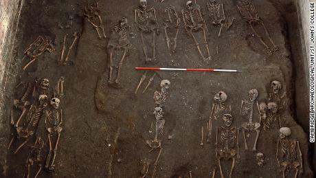 The remains of numerous people were unearthed on the site of the Hospital of St. John the Evangelist.