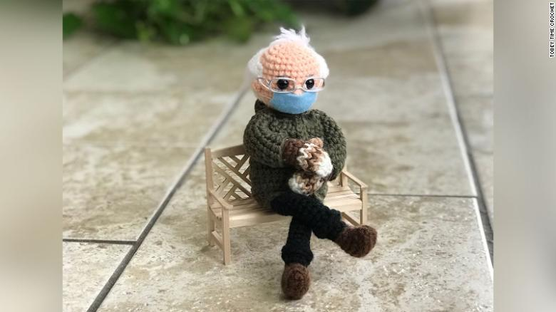 The viral meme of Bernie Sanders has been made into a crocheted doll, and it's now being auctioned for charity