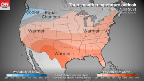 Three months temperature outlook for the US.