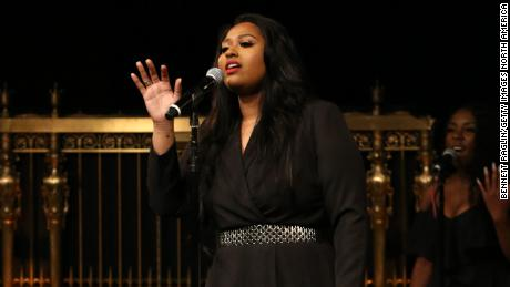"Jazmine Sullivan sings onstage during the Whitaker Peace & Development Initiative ""Place for Peace"" gala at New York's Gotham Hall on September 27, 2019."