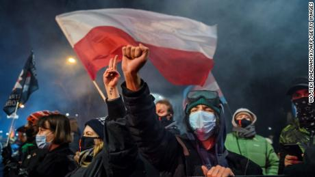 A demonstrator gestures as people take part in a pro-choice protest in the center of Warsaw, on January 27, as part of a nationwide wave of protests against Poland's near-total ban on abortion.