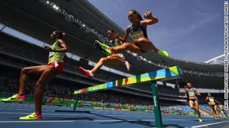Colleen Quigley (right) competes in the women's 3000m steeplechase final at the Rio 2016 Olympics.