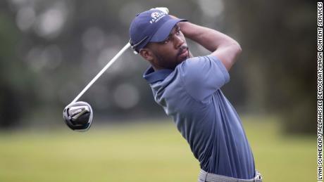 Johnson plays a hole at Seminole Legacy Golf Club.
