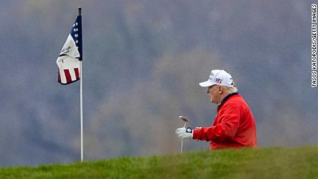 President Donald Trump golfs at Trump National Golf Club on November 21, 2020, in Sterling, Virginia.