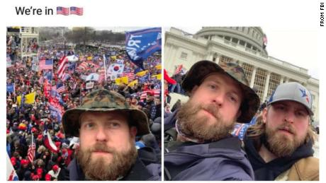 The FBI used this image and others from Nichols' Facebook page to establish what Nichols, in the camouflage hat, and Harkrider wore on January 6.