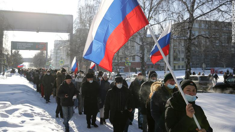 Russian protesters rally in support of opposition leader Alexey Navalny