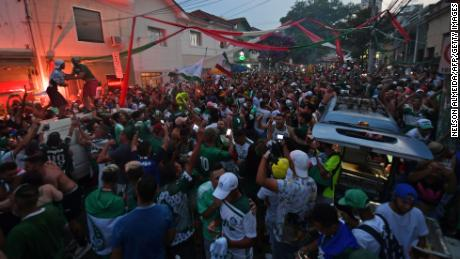 Palmeiras fans celebrate in Sao Paulo after the Copa Libertadores final.