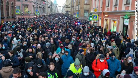 People take part in an unauthorized rally in support of Alexey Navalny in St. Petersburg on Sunday.