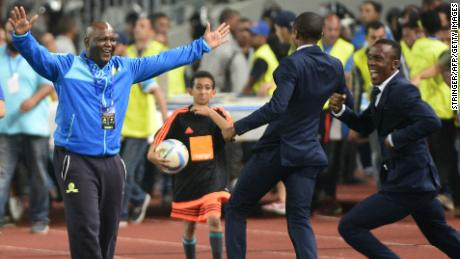 Sundowns' coach Pitso Mosimane reacts after winning the CAF Champions League following the final between Zamalek and Mamelodi Sundowns on October 23, 2016 at the Borg el-Arab Stadium near Alexandria.