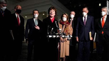 Sen. Susan Collins, R-Maine, speaking after meeting President Joe Biden and Vice President Kamala Harris to discuss a coronavirus relief package, in the Oval Office Monday, Feb. 1, 2021
