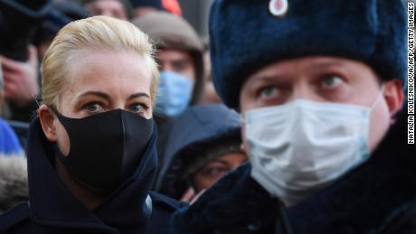 Navalny's wife, Yulia Navalnaya, arrives at the court on Tuesday.