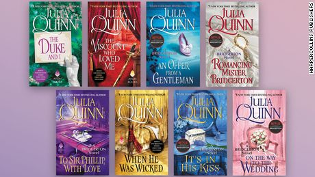 "The eight books in the original ""Bridgerton"" series by Julia Quinn."