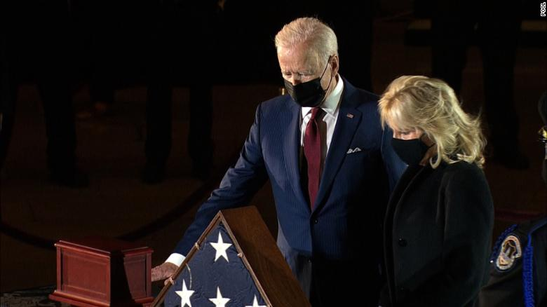 Biden visits US Capitol, where officer killed in riot lays in honour