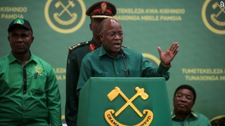 President John Magufuli speaks at the national congress of his party in Dodoma, Tanzania on July 11