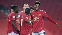 Rashford celebrates during United's victory against Southampton at Old Trafford.