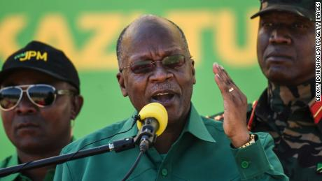 Magufuli, center, speaks during the official launch of the party's campaign for the October general election in Dodoma, Tanzania, on August 29, 2020.