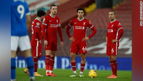 Liverpool players looked dejected after Brighton's Steven Alzate scored on Wednesday.