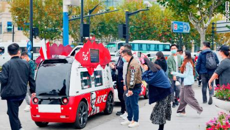 "A driverless van deployed by KFC. Last November, the brand piloted a fleet of ""dining cars"" on the streets of Shanghai."