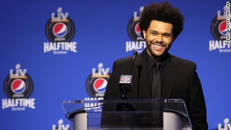 What if The Weeknd's Super Bowl halftime show set just looked like a postgame press conference dais?