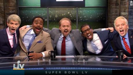 """SNL"" opened with the Super Bowl pre-game show on Saturday."